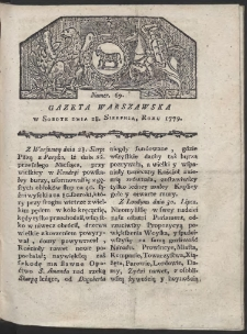 Gazeta Warszawska. R. 1779 Nr 69