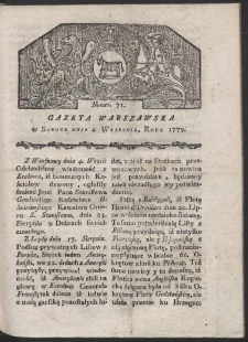 Gazeta Warszawska. R. 1779 Nr 71