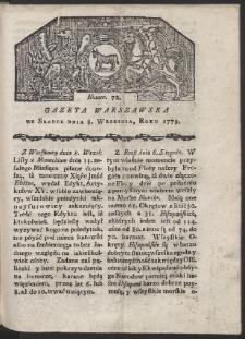 Gazeta Warszawska. R. 1779 Nr 72