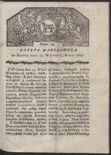Gazeta Warszawska. R. 1779 Nr 74
