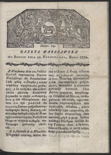 Gazeta Warszawska. R. 1779 Nr 84