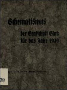 Schematismus der Grafschaft Glatz für das Jahr 1930