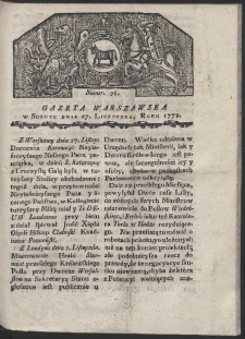 Gazeta Warszawska. R. 1779 Nr 95