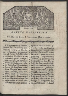 Gazeta Warszawska. R. 1779 Nr 98