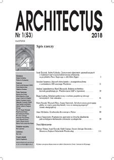 Spis rzeczy [Architectus : Pismo Wydziału Architektury Politechniki Wrocławskiej, 2018, nr 1 (53)]