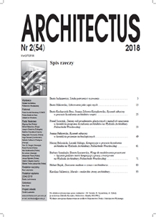 Spis rzeczy [Architectus : Pismo Wydziału Architektury Politechniki Wrocławskiej, 2018, nr 2 (54)]