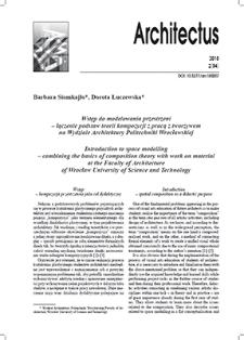 Wstęp do modelowania przestrzeni– łączenie podstaw teorii kompozycji z pracą z tworzywem na Wydziale Architektury Politechniki Wrocławskiej