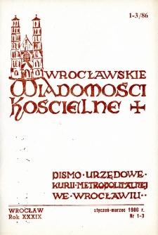 Wrocławskie Wiadomości Kościelne. R. 39 (1986), nr 1/3