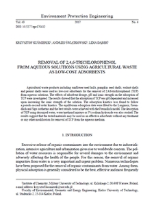 Removal of 2,4,6-trichlorophenol from aqueous solutions using agricultural waste as low-cost adsorbents