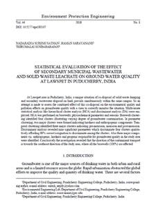 Statistical evaluation of the effect of secondary municipal wastewater and solid waste leachate on ground water quality at Lawspet in Puducherry, India