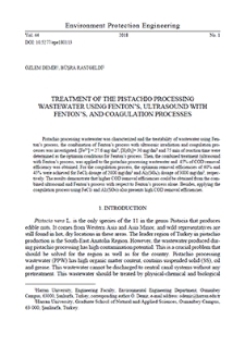Treatment of the pistachio processing wastewater using Fenton's, ultrasound with Fenton's, and coagulation processes