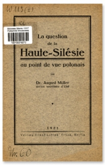 La question de la Haute-Silésie au point de vue polonais