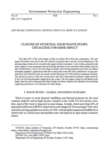 Closure of municipal solid waste dumps. Site rating for odor impact