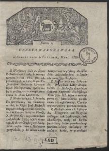 Gazeta Warszawska. R. 1780 Nr 1