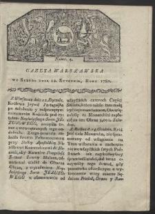 Gazeta Warszawska. R. 1780 Nr 4