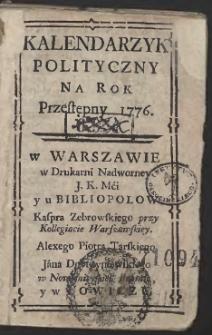 Kalendarzyk Polityczny Warszawski Na Rok Przestępny 1776