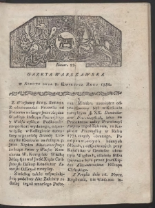 Gazeta Warszawska. R. 1780 Nr 29
