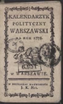 Kalendarzyk Polityczny Warszawski Na Rok 1778