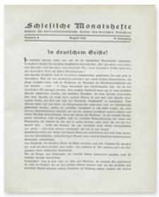 Schlesische Monatshefte : Blätter für Nationalsozialistische Kultur des Deutschen Südostens. 10. Jahrgang, August 1933, Nummer 8