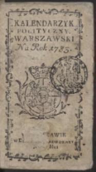 Kalendarzyk Polityczny Warszawski Na Rok 1783