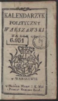 Kalendarzyk Polityczny Warszawski Na Rok 1789