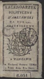 Kalendarzyk Polityczny Warszawski Na Rok 1791. Przybyszowy