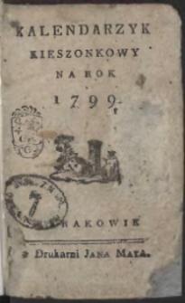 Kalendarzyk Kieszonkowy Na Rok 1799
