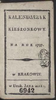 Kalendarzyk Kieszonkowy Na Rok 1797