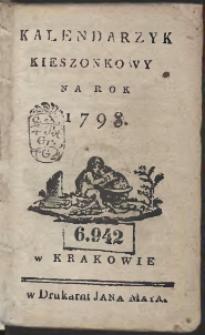 Kalendarzyk Kieszonkowy Na Rok 1798