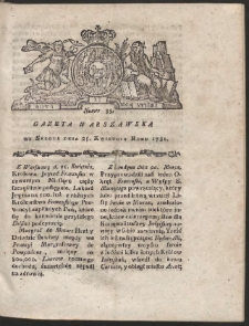 Gazeta Warszawska. R.1781 Nr 33
