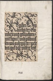 Liber chronicarum, Germ.: Das Buch der Chroniken und Geschichten / Trad. Georgius Alt