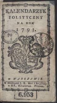 Kalendarzyk Polityczny Na Rok 1793