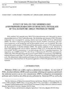 Effect of WO3 on the morphology and photodegradation of dimethyl phthalate of TiO2 nanotube array photoelectrode