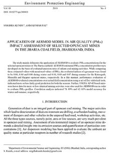 Application of AERMOD model in air quality (PM10) impact assessment of selected opencast mines in The Jharia Coalfield, Jharkhand, India
