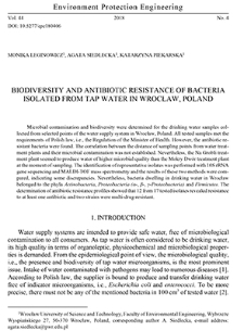 Biodiversity and antibiotic resistance of bacteria isolated from tap water in Wrocław, Poland