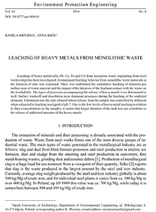 Leaching of heavy metals from monolithic waste