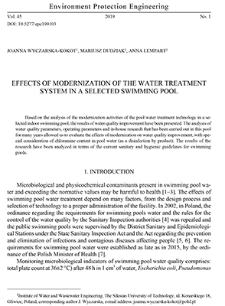 Effects of modernization of the water treatment system in a selected swimming pool