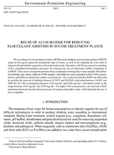 Reuse of alum sludge for reducing flocculant addition in water treatment plants