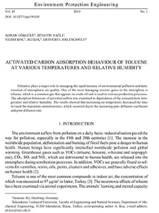 Activated carbon adsorption behaviour of toluene at various temperatures and relative humidity