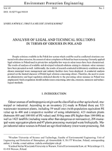 Analysis of legal and technical solutions in terms of odours in Poland