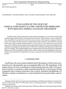 Evaluation of influence of coagulation/flocculation and Fenton oxidation with iron on landfill leachate treatment