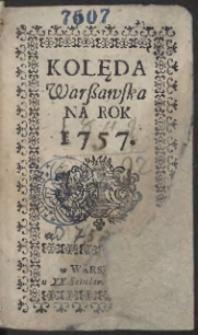 Kolęda Warszawska Na Rok 1757