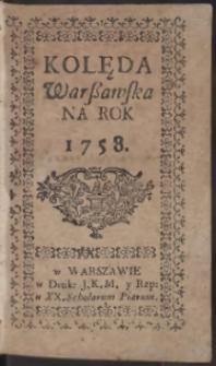 Kolęda Warszawska Na Rok 1758