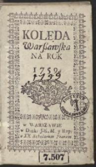 Kolęda Warszawska Na Rok 1759