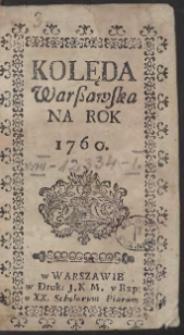 Kolęda Warszawska Na Rok 1760