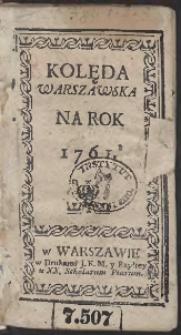 Kolęda Warszawska Na Rok 1761