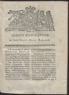 Gazeta Warszawska. R.1782 Nr 19