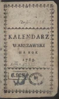 Kalendarz Warszawski Na Rok 1765