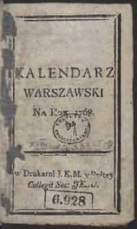 Kalendarz Warszawski Na Rok 1768