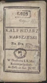 Kalendarz Warszawski Na Rok 1770